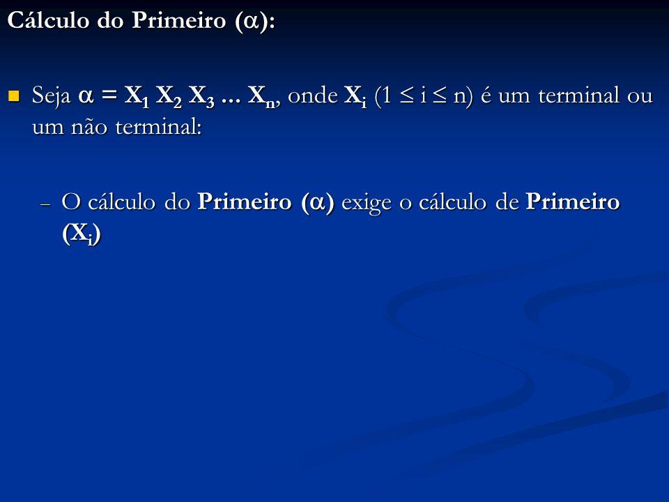 Cálculo do Primeiro ( ): Seja = X 1 X 2 X 3... X n, onde X i (1 i n) é um terminal ou um não terminal: Seja = X 1 X 2 X 3... X n, onde X i (1 i n) é u