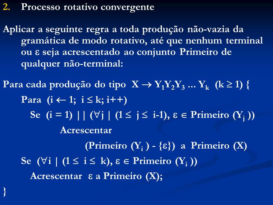 2. 2.Processo rotativo convergente Aplicar a seguinte regra a toda produção não-vazia da gramática de modo rotativo, até que nenhum terminal ou seja a