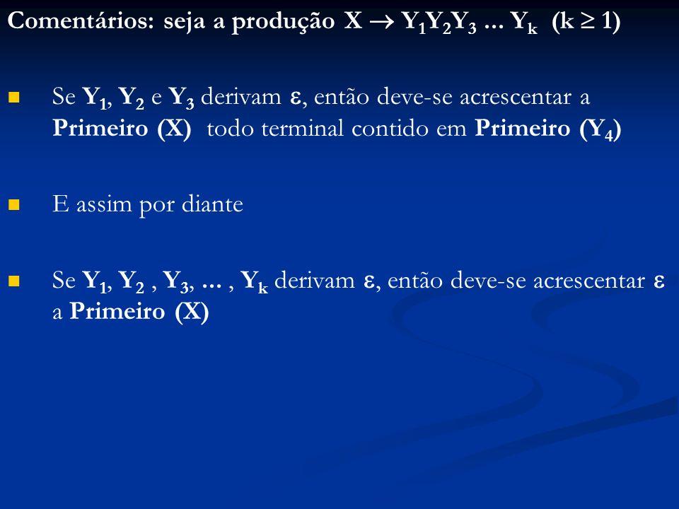 Comentários: seja a produção X Y 1 Y 2 Y 3... Y k (k 1) Se Y 1, Y 2 e Y 3 derivam, então deve-se acrescentar a Primeiro (X) todo terminal contido em P