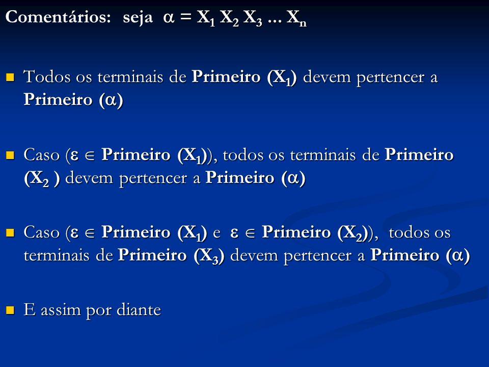 = X 1 X 2 X 3... X n Comentários: seja = X 1 X 2 X 3... X n Todos os terminais de Primeiro (X 1 ) devem pertencer a Primeiro ( ) Todos os terminais de