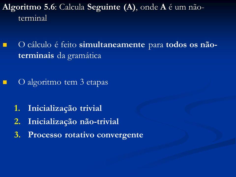 Algoritmo 5.6: Calcula Seguinte (A), onde A é um não- terminal O cálculo é feito simultaneamente para todos os não- terminais da gramática O algoritmo