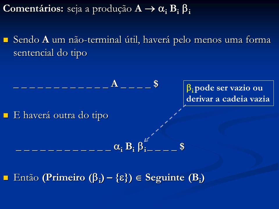 Comentários: seja a produção A i B i i Sendo A um não-terminal útil, haverá pelo menos uma forma sentencial do tipo Sendo A um não-terminal útil, have