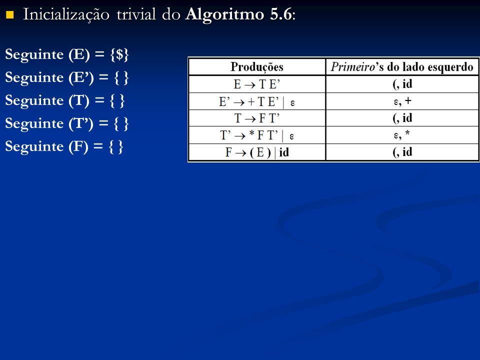 Inicialização trivial do Algoritmo 5.6 Inicialização trivial do Algoritmo 5.6: Seguinte (E) = {$} Seguinte (E) = { } Seguinte (T) = { } Seguinte (F) =