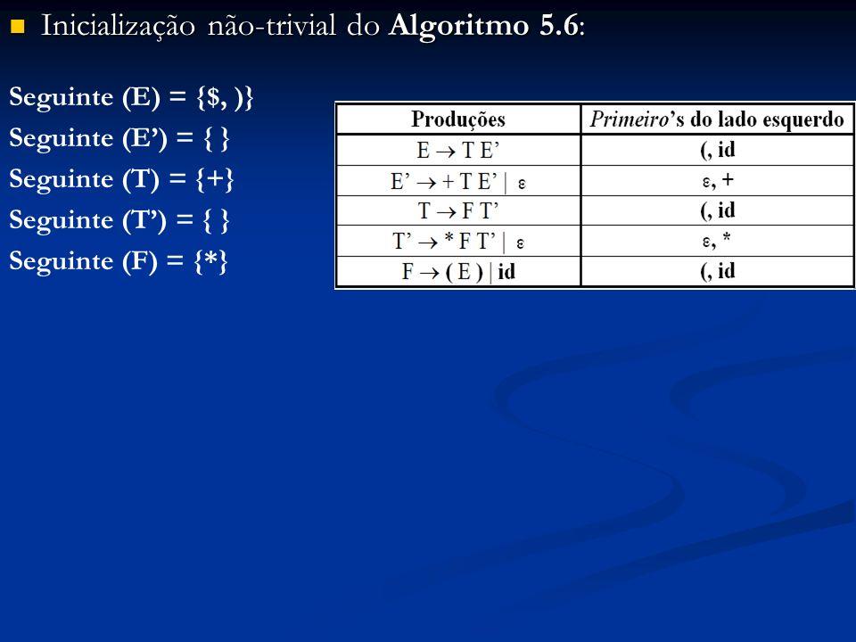 Inicialização não-trivial do Algoritmo 5.6: Inicialização não-trivial do Algoritmo 5.6: Seguinte (E) = {$, )} Seguinte (E) = { } Seguinte (T) = {+} Se
