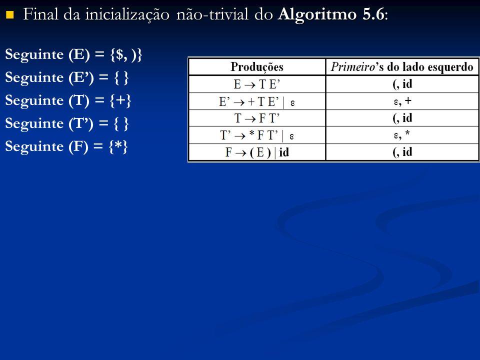 Final da inicialização não-trivial do Algoritmo 5.6: Final da inicialização não-trivial do Algoritmo 5.6: Seguinte (E) = {$, )} Seguinte (E) = { } Seg
