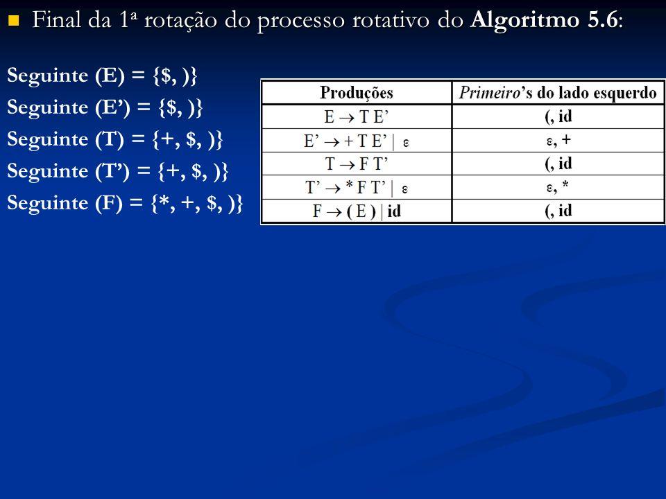 Final da 1 a rotação do processo rotativo do Algoritmo 5.6: Final da 1 a rotação do processo rotativo do Algoritmo 5.6: Seguinte (E) = {$, )} Seguinte