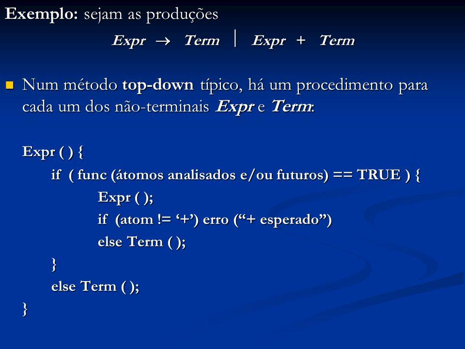 Exemplo: sejam as produções Expr Term Expr + Term Num método top-down típico, há um procedimento para cada um dos não-terminais Expr e Term: Num métod
