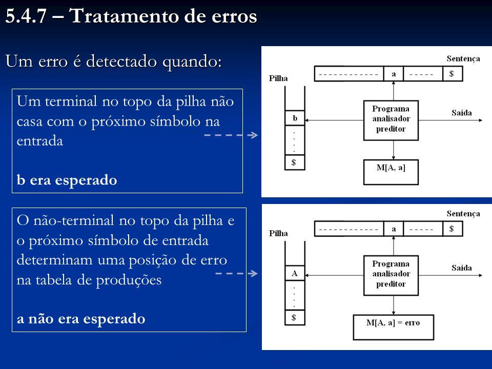 5.4.7 – Tratamento de erros Um erro é detectado quando: Um terminal no topo da pilha não casa com o próximo símbolo na entrada b era esperado O não-te