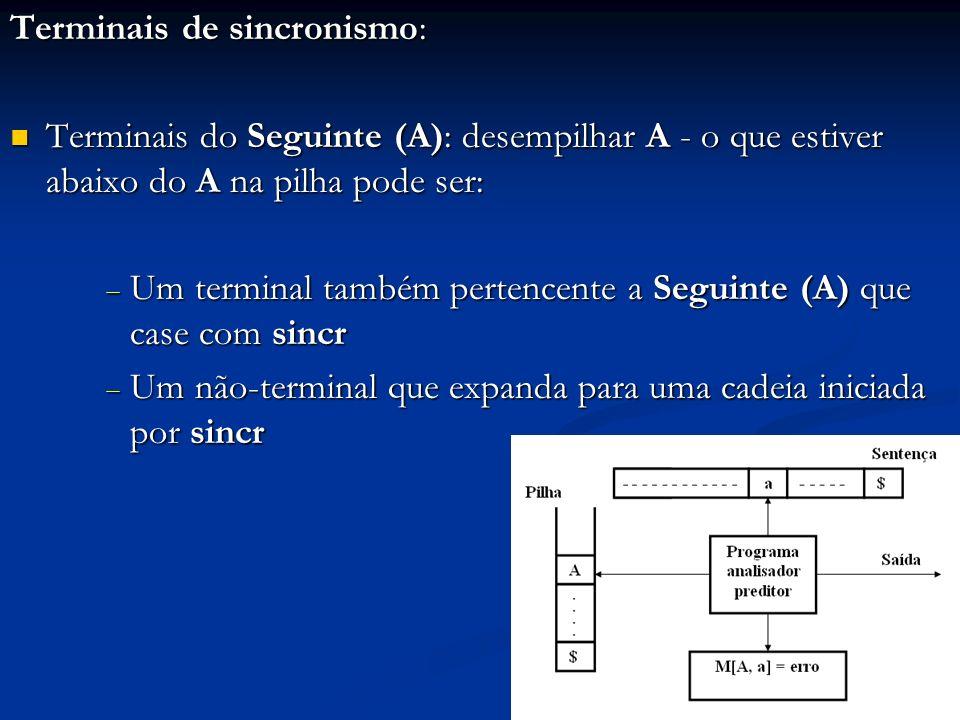 Terminais de sincronismo: Terminais do Seguinte (A): desempilhar A - o que estiver abaixo do A na pilha pode ser: Terminais do Seguinte (A): desempilh