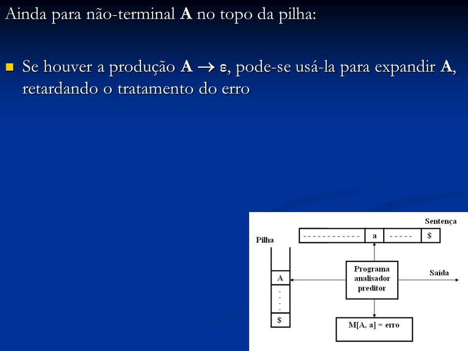 Ainda para não-terminal A no topo da pilha: Se houver a produção A ε, pode-se usá-la para expandir A, retardando o tratamento do erro Se houver a prod