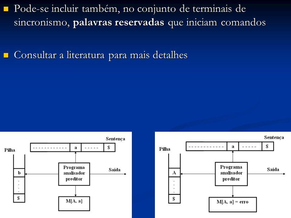 Pode-se incluir também, no conjunto de terminais de sincronismo, palavras reservadas que iniciam comandos Pode-se incluir também, no conjunto de termi