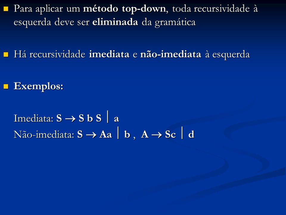 Para aplicar um método top-down, toda recursividade à esquerda deve ser eliminada da gramática Para aplicar um método top-down, toda recursividade à e