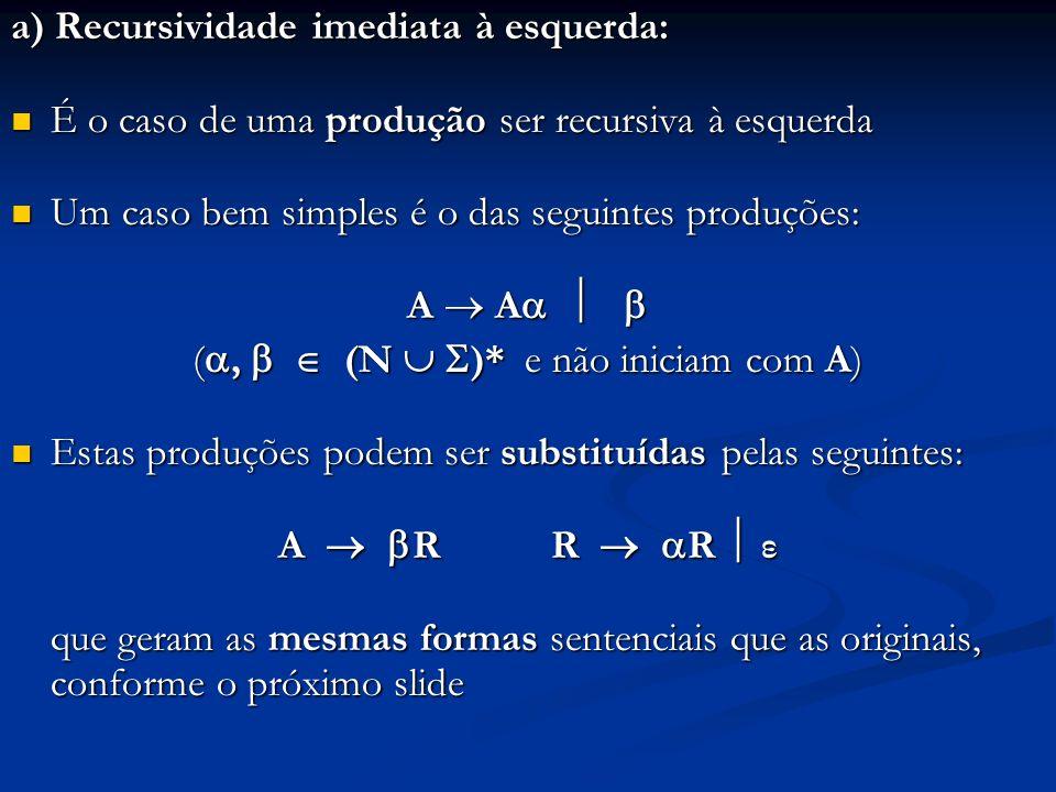 a) Recursividade imediata à esquerda: É o caso de uma produção ser recursiva à esquerda É o caso de uma produção ser recursiva à esquerda Um caso bem