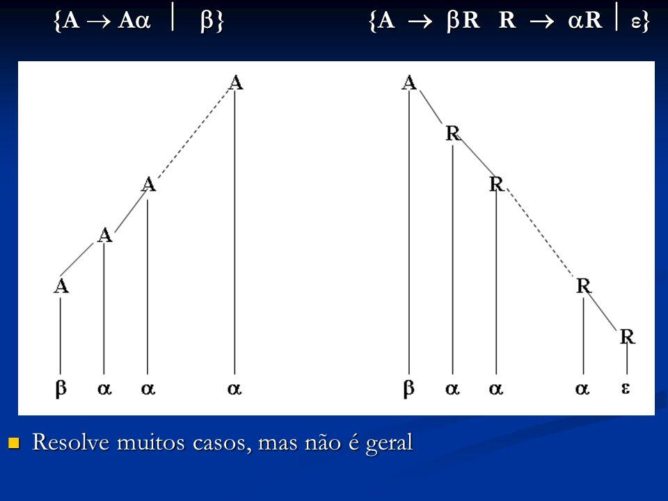 {A A } {A R R R ε} {A A } {A R R R ε} Resolve muitos casos, mas não é geral Resolve muitos casos, mas não é geral