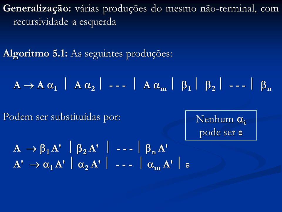 Generalização: várias produções do mesmo não-terminal, com recursividade a esquerda Algoritmo 5.1: As seguintes produções: A A 1 A 2 - - - A m 1 2 - -
