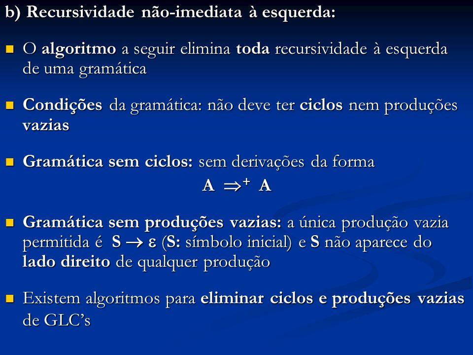 b) Recursividade não-imediata à esquerda: O algoritmo a seguir elimina toda recursividade à esquerda de uma gramática O algoritmo a seguir elimina tod