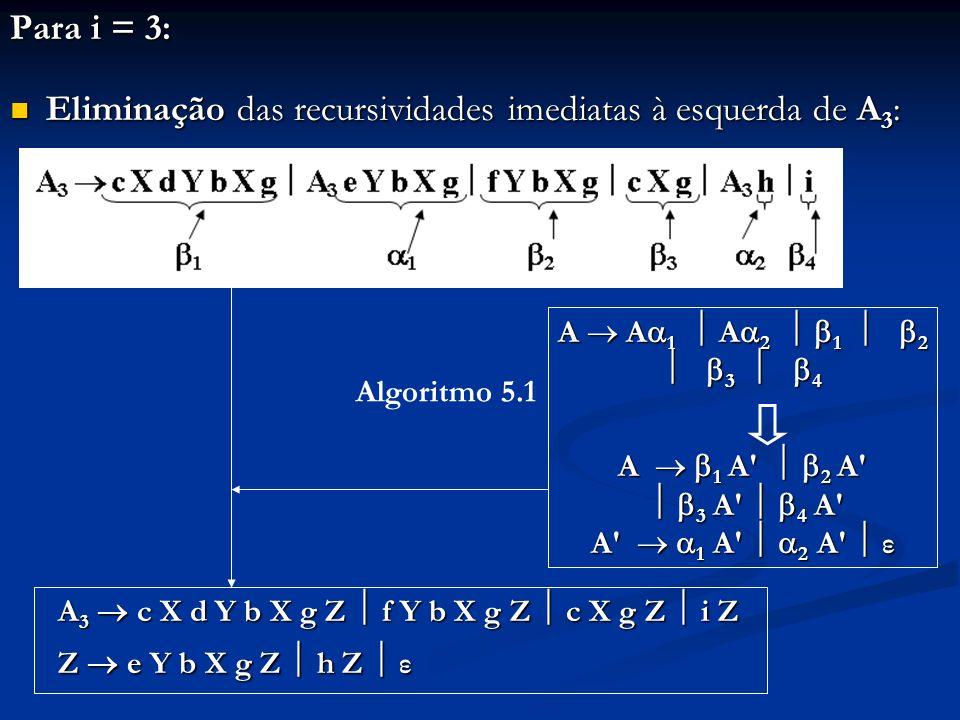 Para i = 3: Eliminação das recursividades imediatas à esquerda de A 3 : Eliminação das recursividades imediatas à esquerda de A 3 : A 3 c X d Y b X g
