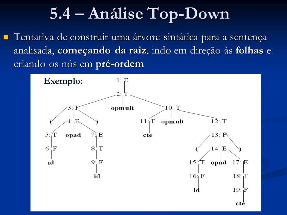 5.4 – Análise Top-Down Tentativa de construir uma árvore sintática para a sentença analisada, começando da raiz, indo em direção às folhas e criando o