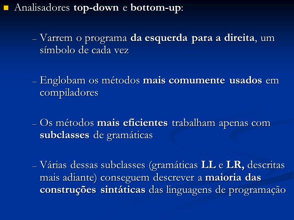 Analisadores top-down: Analisadores top-down: – Caminham pela árvore sintática dos programas, da raiz para as folhas – Trabalham com gramáticas LL (Left-Left) – Englobam os métodos preditores, dentre os quais, os diagramas de transições – As implementações manuais utilizam métodos top- down