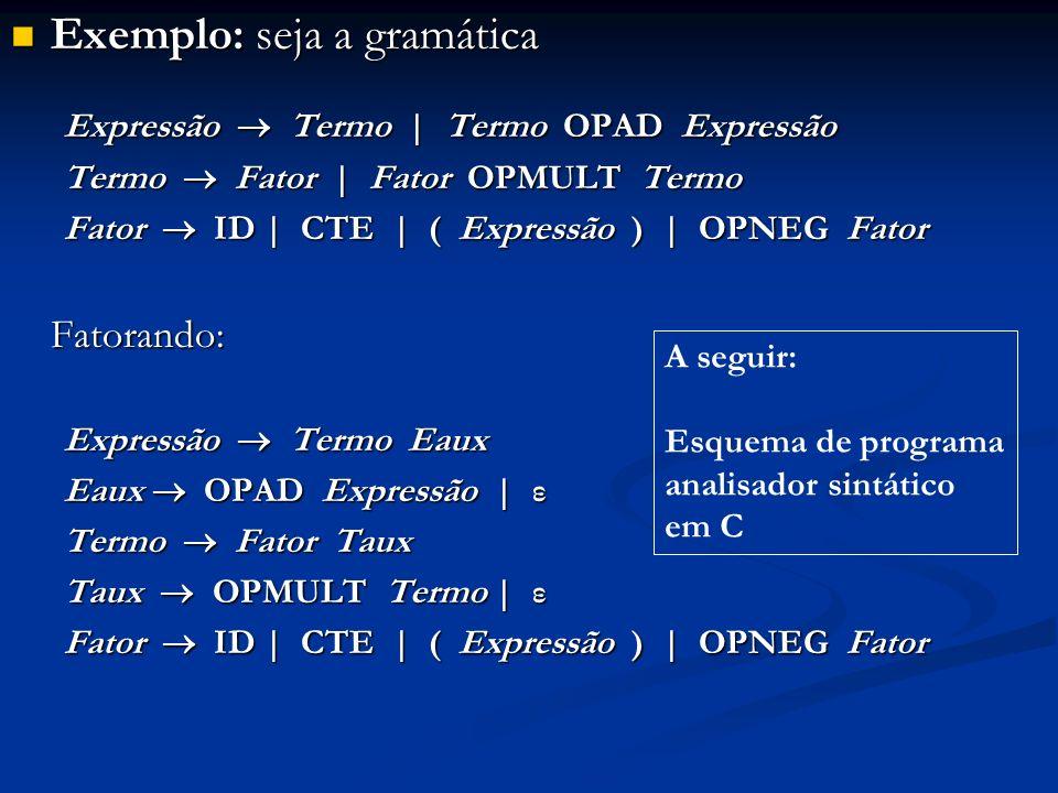 Exemplo: seja a gramática Exemplo: seja a gramática Expressão Termo   Termo OPAD Expressão Termo Fator   Fator OPMULT Termo Fator ID   CTE   ( Express
