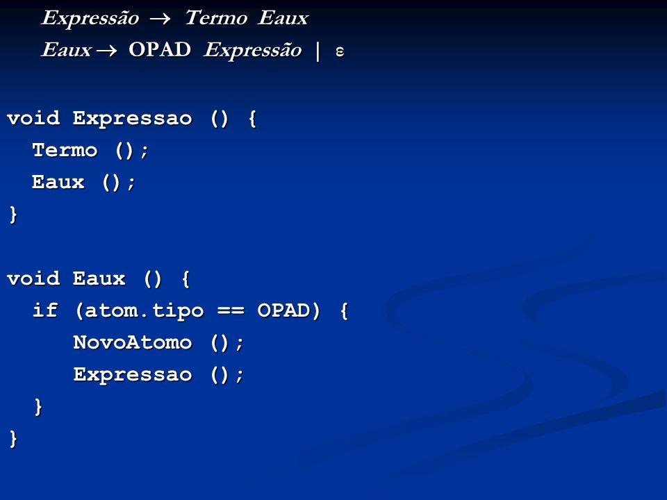 Expressão Termo Eaux Eaux OPAD Expressão   ε void Expressao () { Termo (); Eaux (); } void Eaux () { if (atom.tipo == OPAD) { NovoAtomo (); Expressao