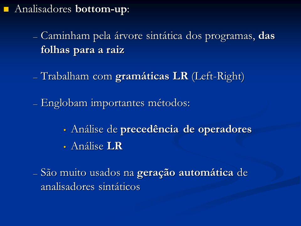 Analisadores bottom-up: Analisadores bottom-up: – Caminham pela árvore sintática dos programas, das folhas para a raiz – Trabalham com gramáticas LR (