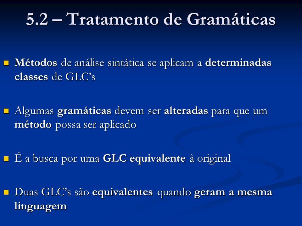 Exemplo: Produção de derivações mais a esquerda da gramática: Exemplo: Produção de derivações mais a esquerda da gramática: E T | T opad E T F | F opmult T F id | cte | ( E ) Derivação mais à esquerda para a expressão: ( x + y ) * 10 / ( n – 2 )