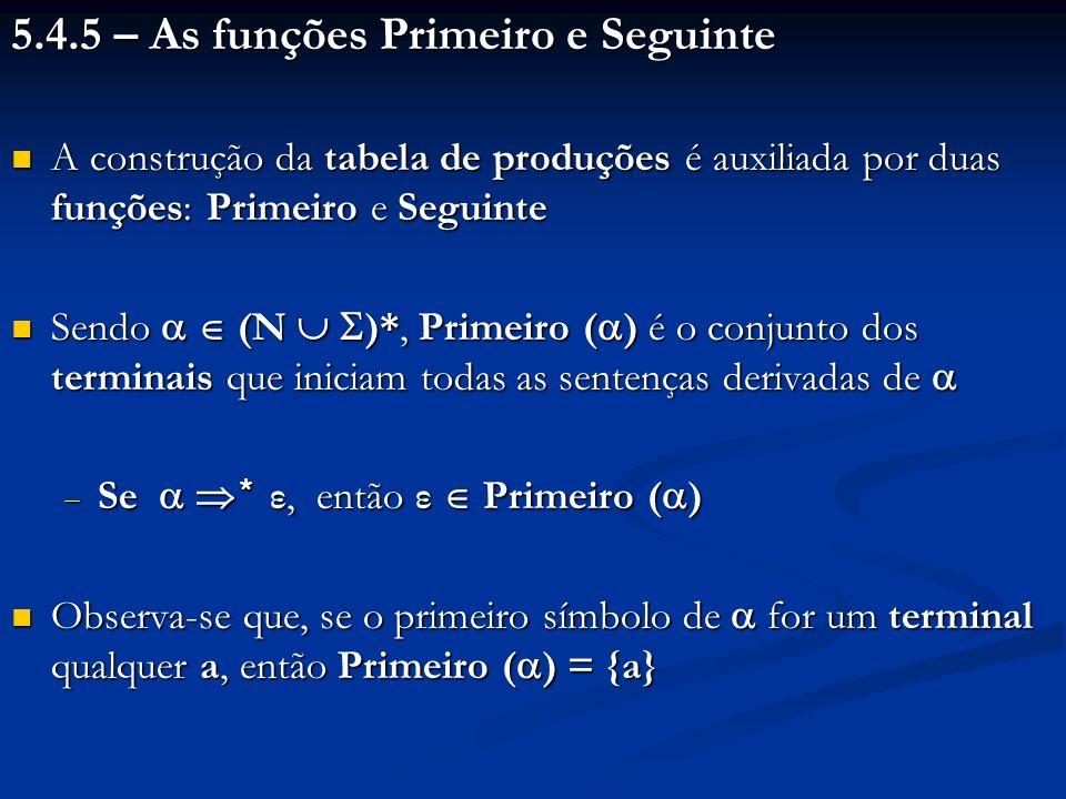 5.4.5 – As funções Primeiro e Seguinte A construção da tabela de produções é auxiliada por duas funções: Primeiro e Seguinte A construção da tabela de