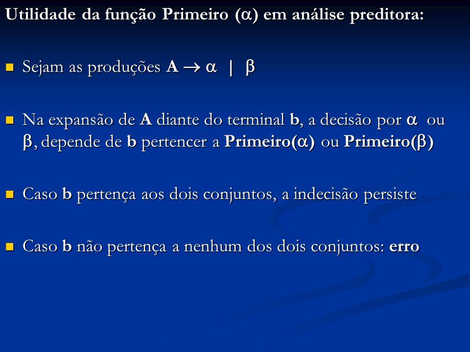 Utilidade da função Primeiro ( ) em análise preditora: Sejam as produções A   Sejam as produções A   Na expansão de A diante do terminal b, a decisão