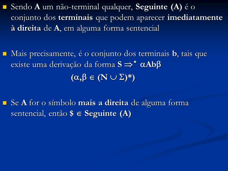 Sendo A um não-terminal qualquer, Seguinte (A) é o conjunto dos terminais que podem aparecer imediatamente à direita de A, em alguma forma sentencial