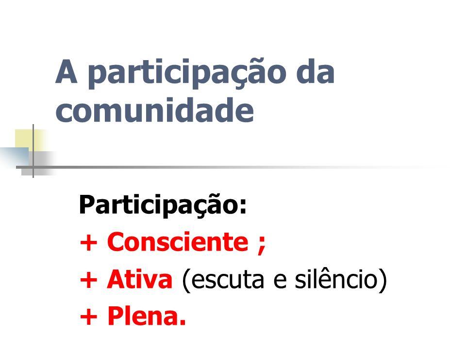 A participação da comunidade Participação: + Consciente ; + Ativa (escuta e silêncio) + Plena.