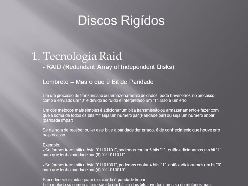 1. Tecnologia Raid - RAID (Redundant Array of Independent Disks) Lembrete – Mas o que é Bit de Paridade Em um processo de transmissão ou armazenamento
