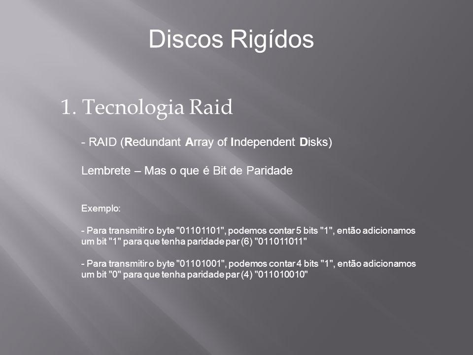 1. Tecnologia Raid - RAID (Redundant Array of Independent Disks) Lembrete – Mas o que é Bit de Paridade Exemplo: - Para transmitir o byte