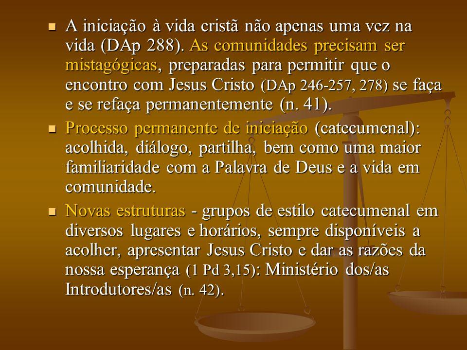 A iniciação à vida cristã não apenas uma vez na vida (DAp 288).