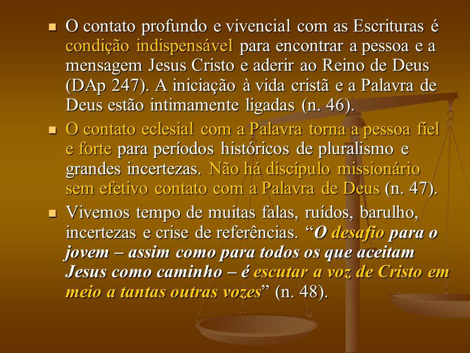 O contato profundo e vivencial com as Escrituras é condição indispensável para encontrar a pessoa e a mensagem Jesus Cristo e aderir ao Reino de Deus (DAp 247).