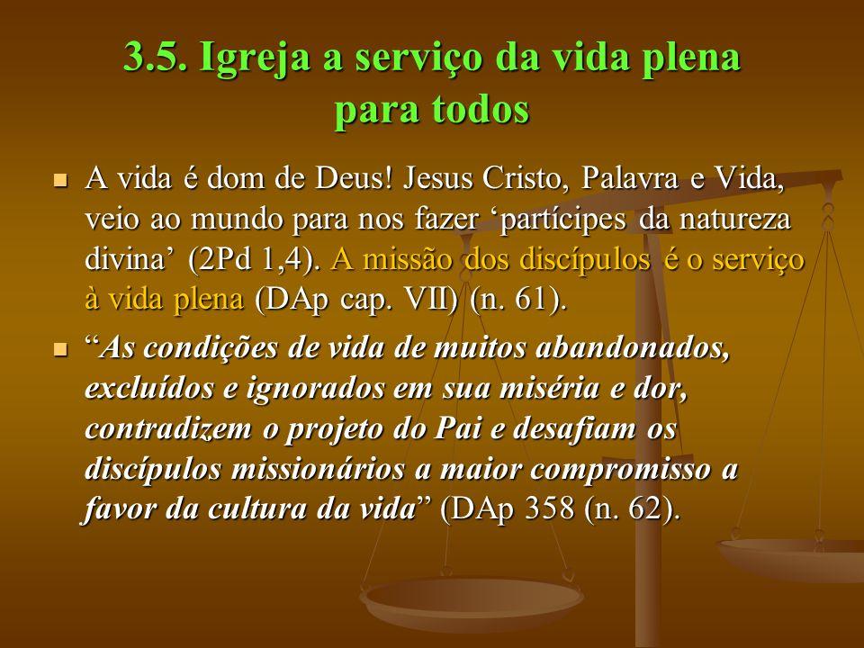 3.5. Igreja a serviço da vida plena para todos A vida é dom de Deus.