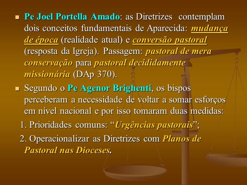 Pe Joel Portella Amado: as Diretrizes contemplam dois conceitos fundamentais de Aparecida: mudança de época (realidade atual) e conversão pastoral (resposta da Igreja).