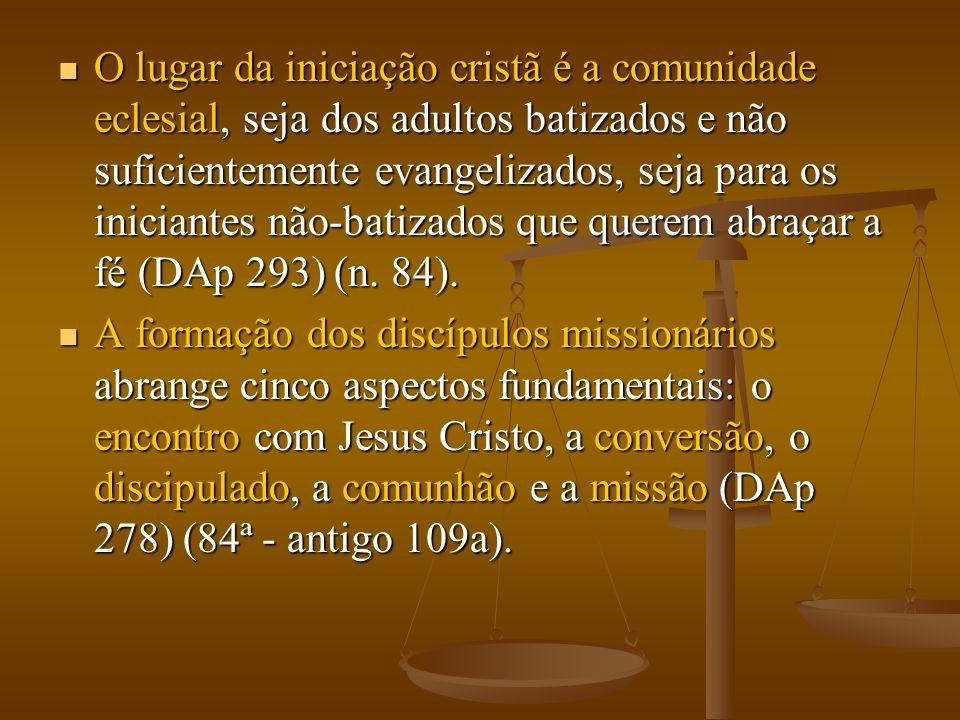 O lugar da iniciação cristã é a comunidade eclesial, seja dos adultos batizados e não suficientemente evangelizados, seja para os iniciantes não-batizados que querem abraçar a fé (DAp 293) (n.