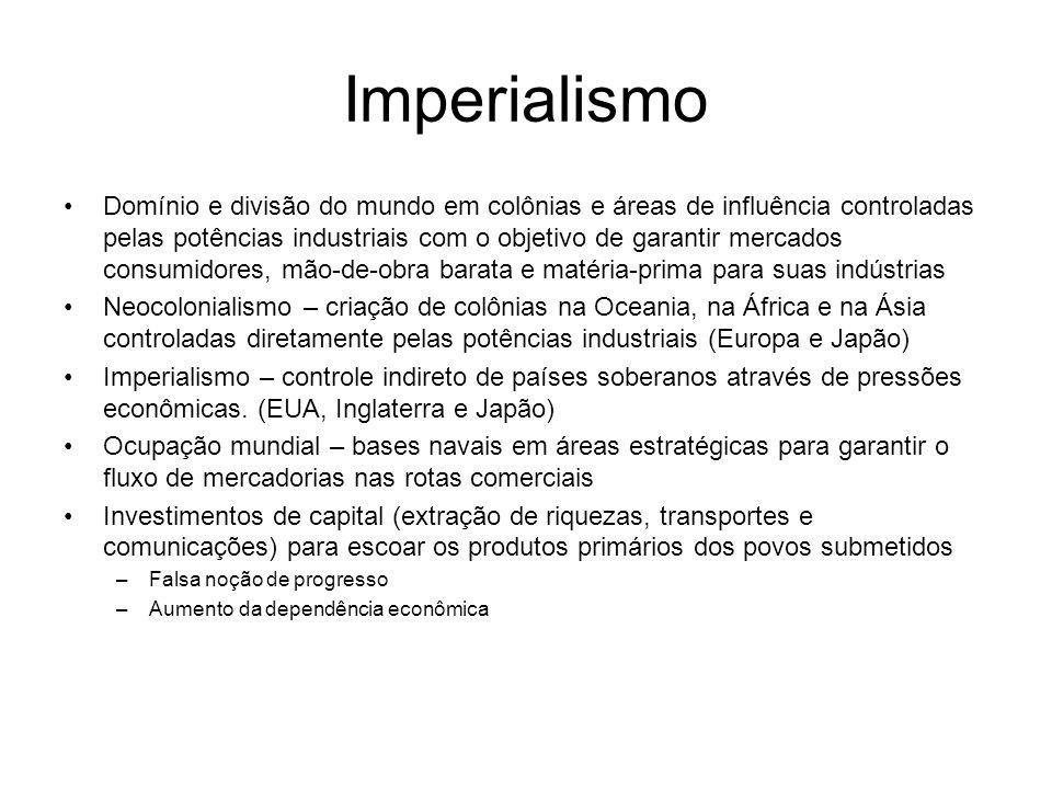 Imperialismo Domínio e divisão do mundo em colônias e áreas de influência controladas pelas potências industriais com o objetivo de garantir mercados