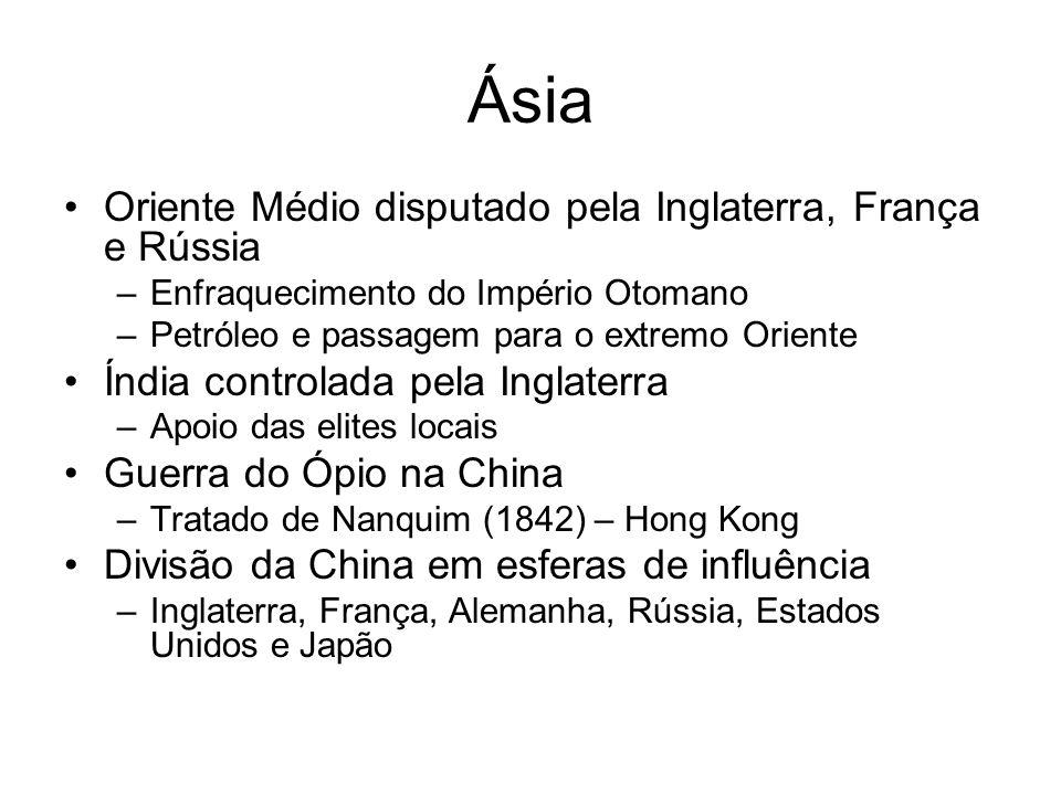 Ásia Oriente Médio disputado pela Inglaterra, França e Rússia –Enfraquecimento do Império Otomano –Petróleo e passagem para o extremo Oriente Índia co
