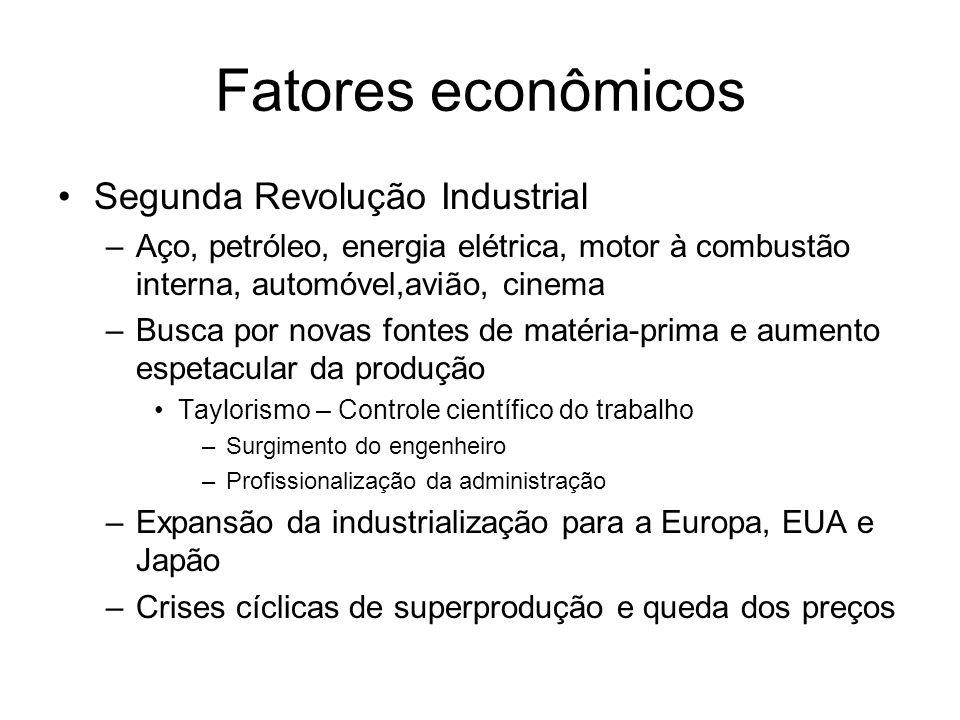 Fatores econômicos Segunda Revolução Industrial –Aço, petróleo, energia elétrica, motor à combustão interna, automóvel,avião, cinema –Busca por novas