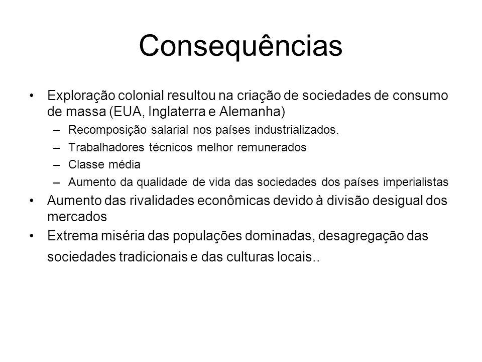 Consequências Exploração colonial resultou na criação de sociedades de consumo de massa (EUA, Inglaterra e Alemanha) –Recomposição salarial nos países