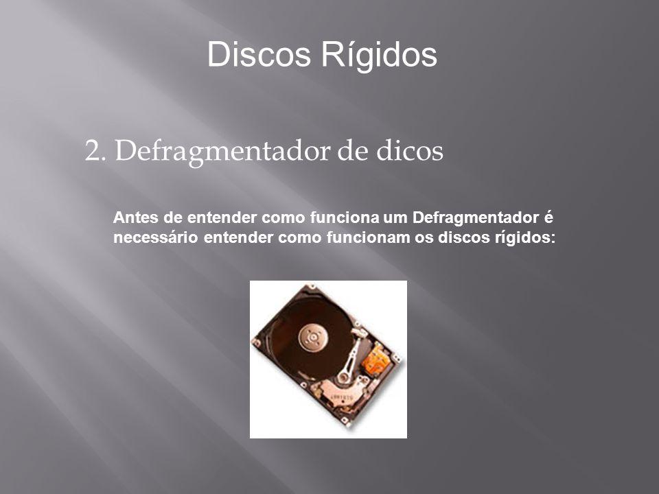 2. Defragmentador de dicos Antes de entender como funciona um Defragmentador é necessário entender como funcionam os discos rígidos: Discos Rígidos