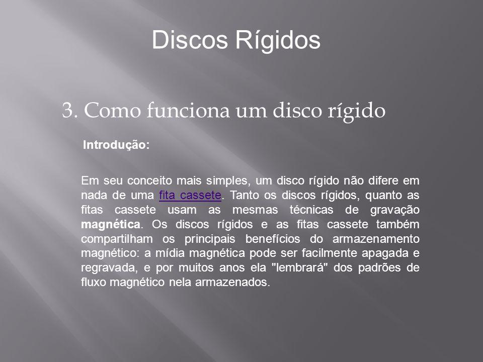 Introdução: Discos Rígidos Em seu conceito mais simples, um disco rígido não difere em nada de uma fita cassete. Tanto os discos rígidos, quanto as fi