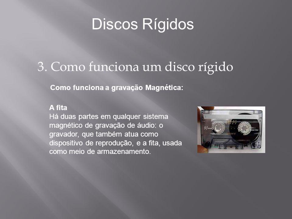 Como funciona a gravação Magnética: Discos Rígidos A fita Há duas partes em qualquer sistema magnético de gravação de áudio: o gravador, que também at