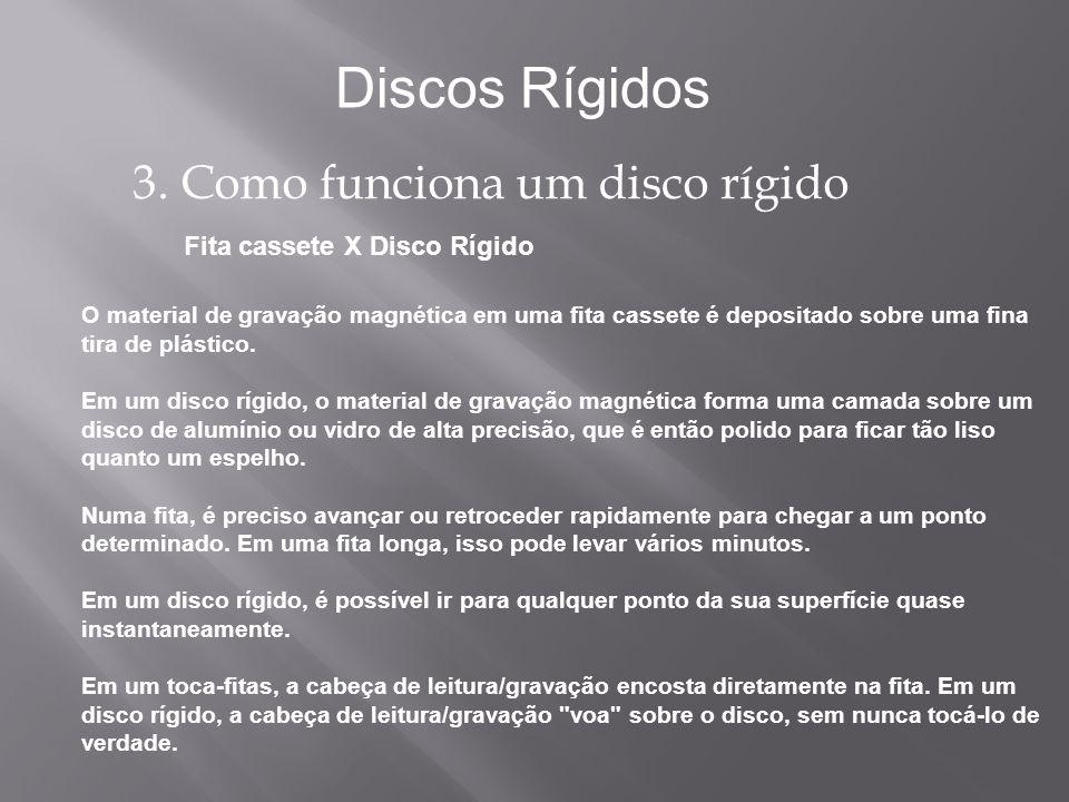 Fita cassete X Disco Rígido Discos Rígidos 3. Como funciona um disco rígido O material de gravação magnética em uma fita cassete é depositado sobre um