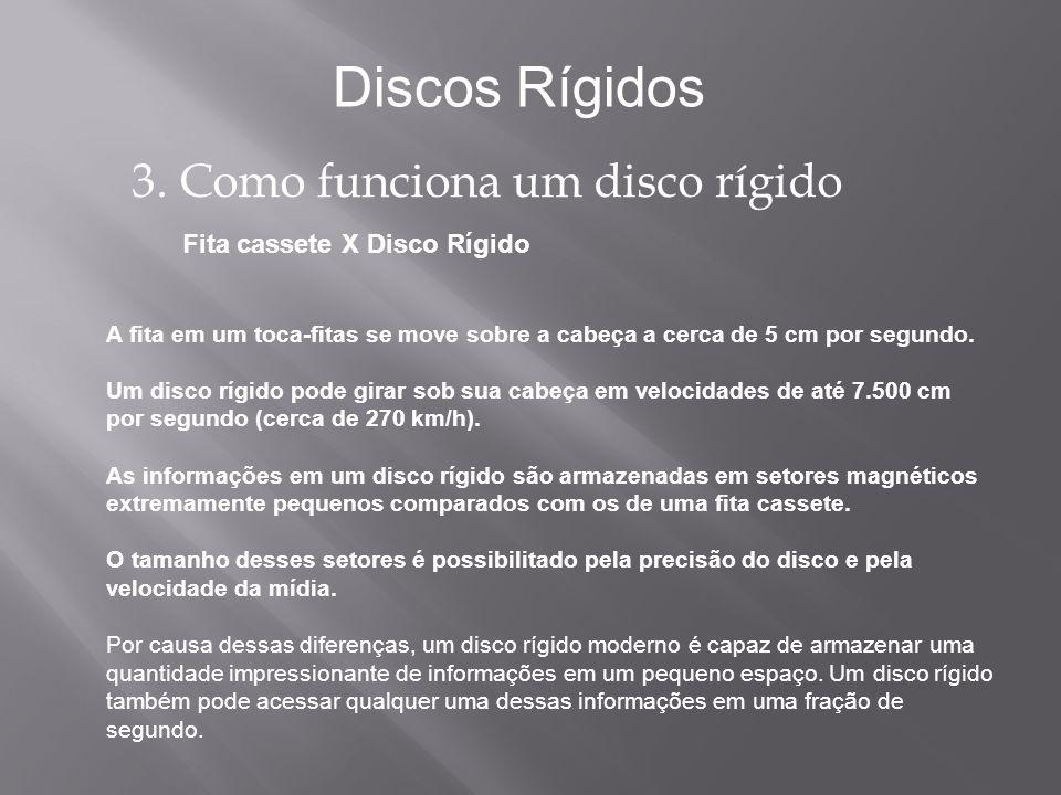 Fita cassete X Disco Rígido Discos Rígidos 3. Como funciona um disco rígido A fita em um toca-fitas se move sobre a cabeça a cerca de 5 cm por segundo