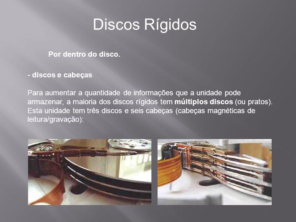 Por dentro do disco. Discos Rígidos - discos e cabeças Para aumentar a quantidade de informações que a unidade pode armazenar, a maioria dos discos rí
