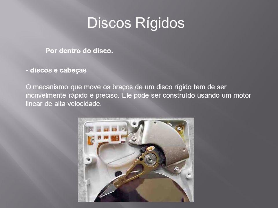Por dentro do disco. Discos Rígidos - discos e cabeças O mecanismo que move os braços de um disco rígido tem de ser incrivelmente rápido e preciso. El