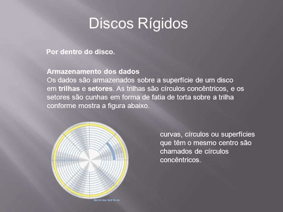 Por dentro do disco. Discos Rígidos Armazenamento dos dados Os dados são armazenados sobre a superfície de um disco em trilhas e setores. As trilhas s